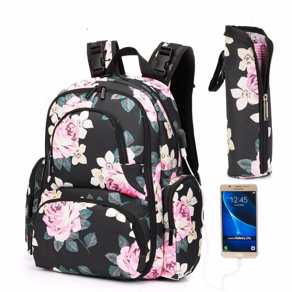 Water-Resistant Baby Bags With USB Interface Mummy Maternity Nappy Bag Large Travel Backpack Designer Nursing Bag for Mom/Dad