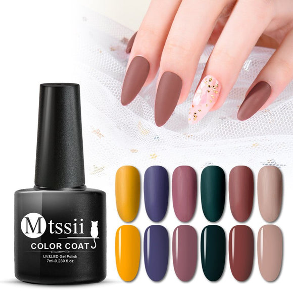 Mtssii 24 Colors Gel Polish Varnish Soak Off UV LED Gel Nail Polish Matte Top Coat Need Color Gel Nail Polish