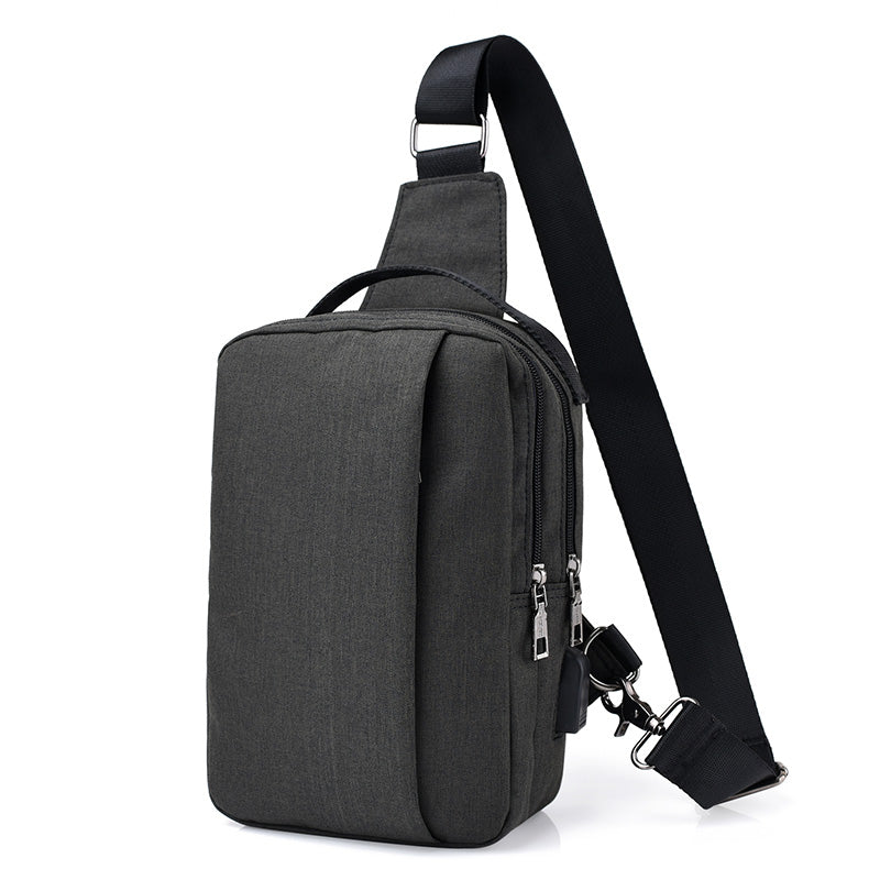 Canvas Mens Chest Bags Fashion Travel Crossbody Bag Man Messenger Bag Women External USB Charge Travel Shoulder Bags