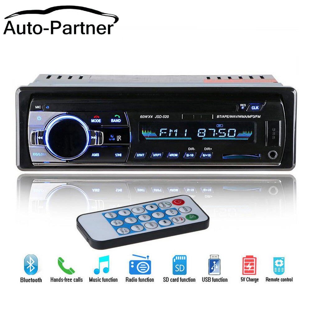 12V Bluetooth Car Stereo FM Radio MP3 Audio Player 5V Charger USB SD AUX Auto Electronics Subwoofer In-Dash 1 DIN Autoradio