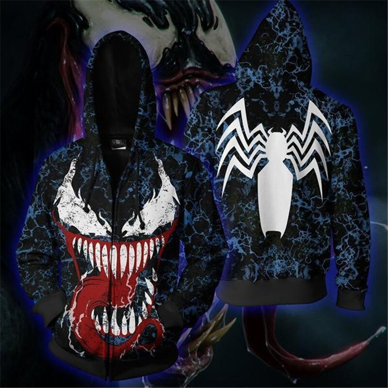 New Cool Venom Spider-Man Hoodie 3D Print Zipper Hoodies Tops Jacket Autumn Sweatshirt Long-sleeved Hooded Pullovers Tops