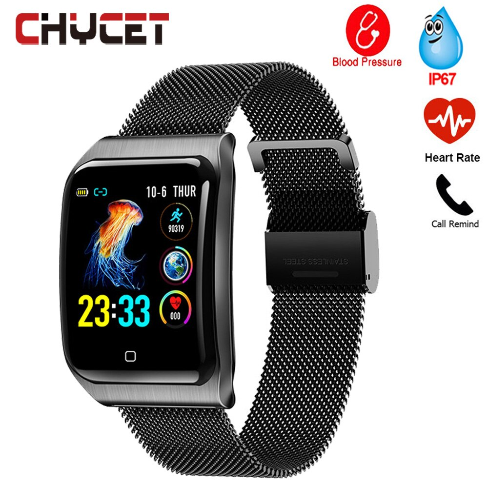 NEW Smart Watch Men Smartwatch Blood Pressure Heart Rate Monitor Fitness Tracker IP67 Waterproof Full touch control Color screen
