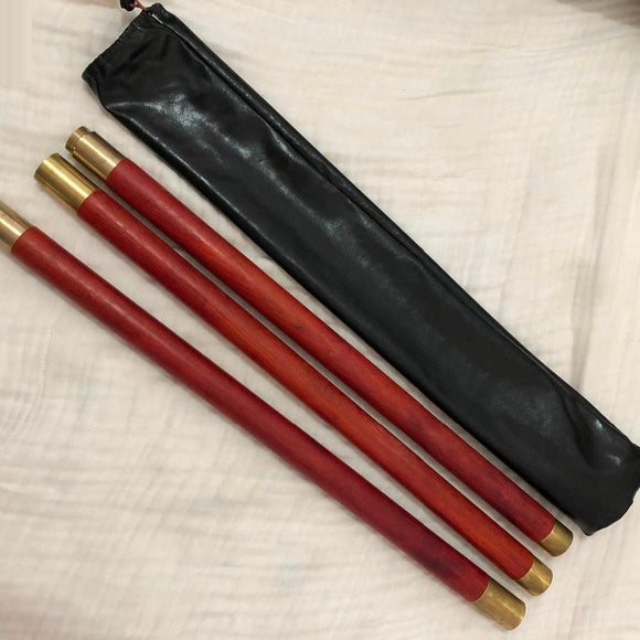 Red AfricanPadauk Taiji health sticks martial arts stick stitching solid wooden whip 3-sections rod combination Shaolin Zhang