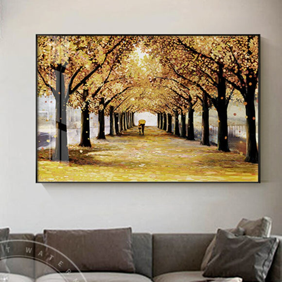 Autumn Trees Gold Street View Canvas Print and Poster Wall Art For Living Room Aisle Dining Room Cuadros Decoracion Abstract