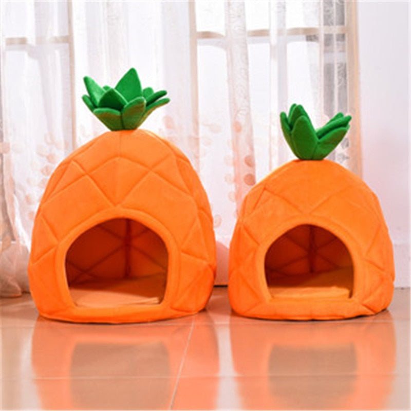 Cute Pineapple Kennel Cat Nest Teddy Dog Cotton House Bed Winter Warm Dog Cat Bed With Detachable Cushion Pet Products