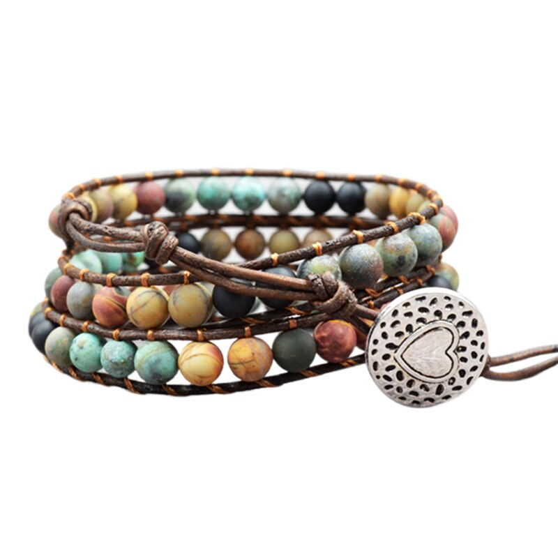 Women Bohemian Boho Bracelets Vintage Leather and Natural Stone 3 Multi-Layer Strands Woven Handmade Wrap Bracelets Heart Char