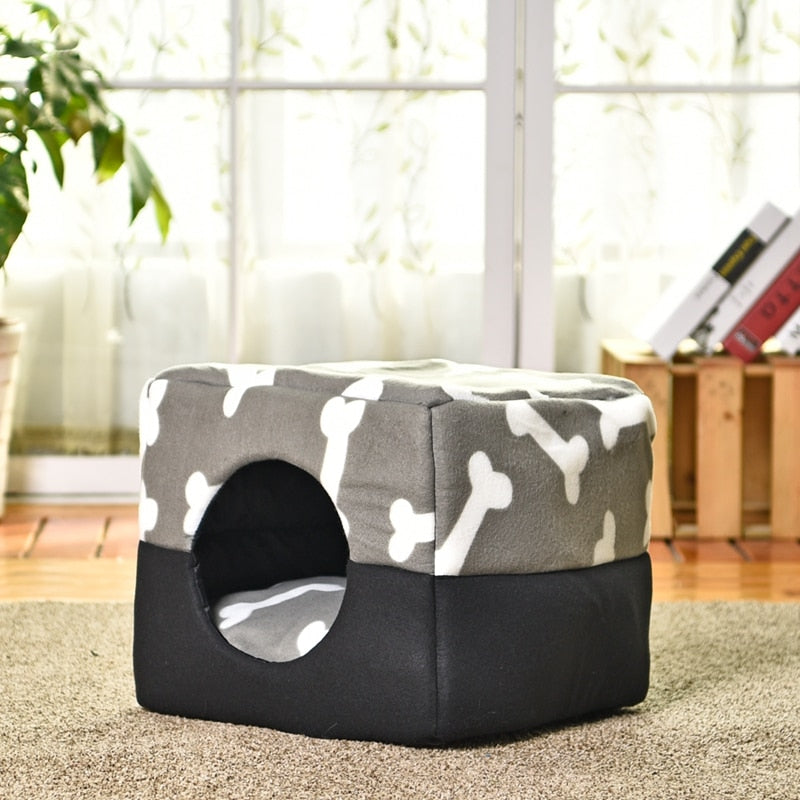 Multi-functional Three-Use Dog Bed Cotton Kennel Pet House Puppy House Pattern Bone Gray Color S/M Great Quality Cat Bed