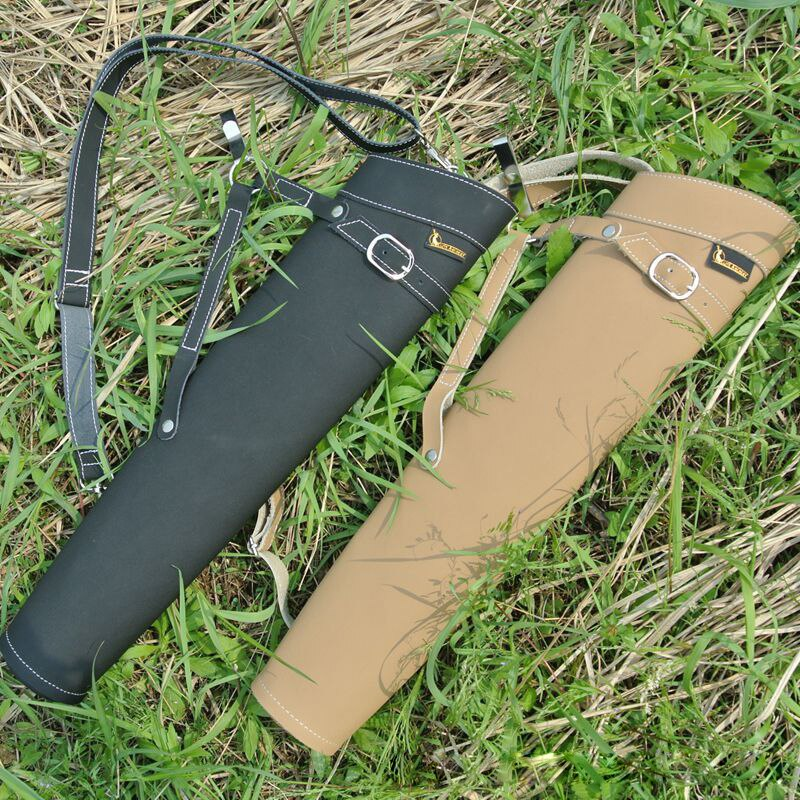 Cowhide Leather Shoulder-back Archery Arrow Quiver  for Compound Recurve Bow  Shooting Hunting Bag Hunitng Arrow Holder