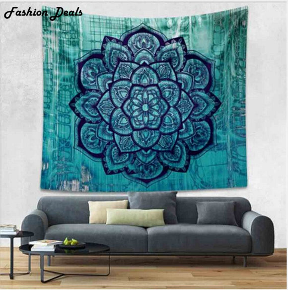 Blue Mandala Tapestry Indian Hippie Wall Hanging Art Tapestries Bedspread Bed Sheet Belgium Boho Beach Towel Blanket New Bedding
