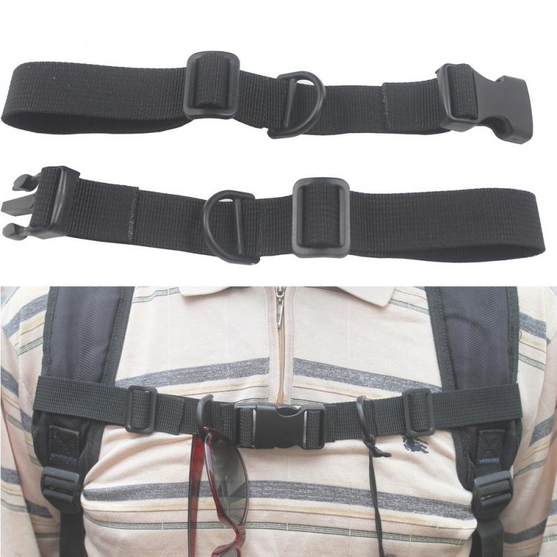 Chest Strap Harness Buckled Black Nylon With Whistle Adjustable Anti Slip Shoulder Bag Rope Backpack Accessories Outdoor Sports