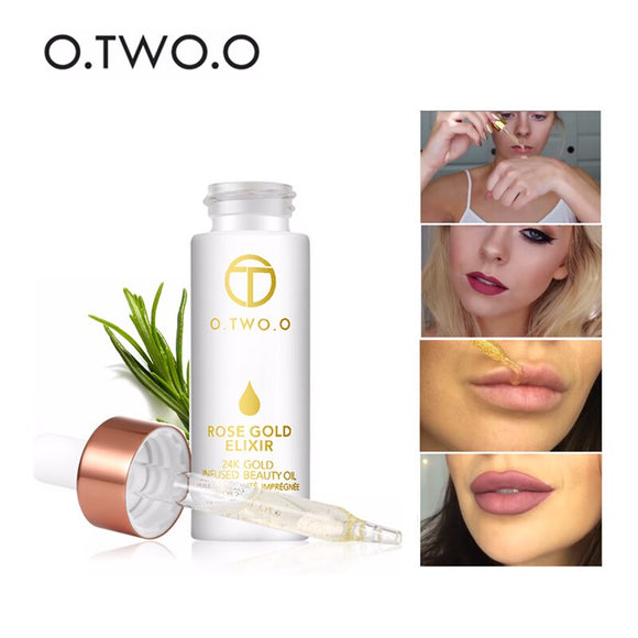 O.TWO.O 24k Rose Gold Face Makeup Primer Essential Beauty Oil Moisturizing Firming Anti-aging Face Skin Nutrient Solution 9116