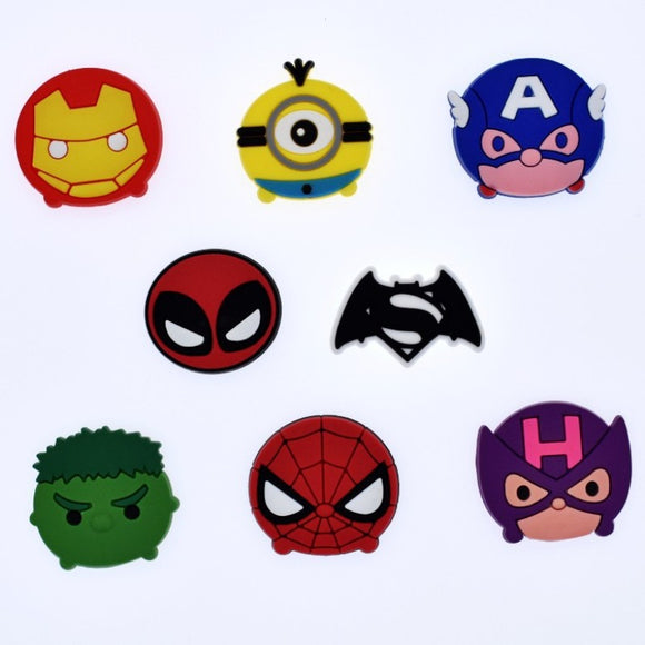 8pcs Avengers Super Heros Anime Cartoon Silicone Flatback DIY Gadgets Craft Charms Fit Bracelets Phone Case Brooches Kids Gift
