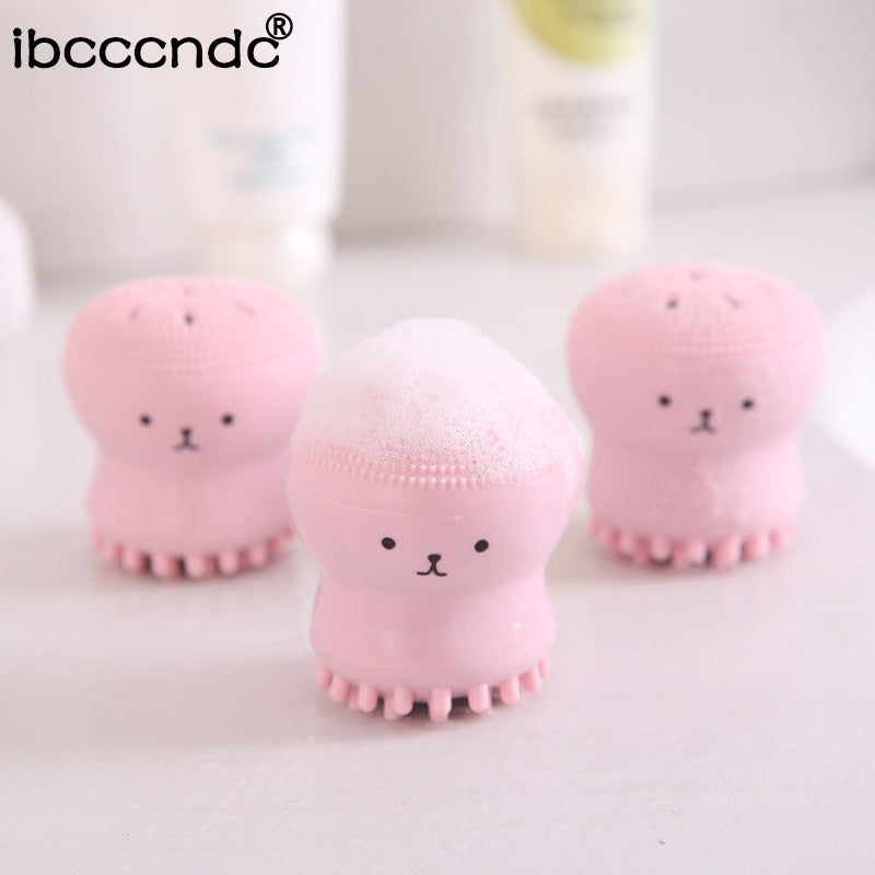 New Style Small Octopus Shape Soft Silicone Facial Cleaning Brush Cleaning Pad Facial SPA Skin Tool Cleaning Essential