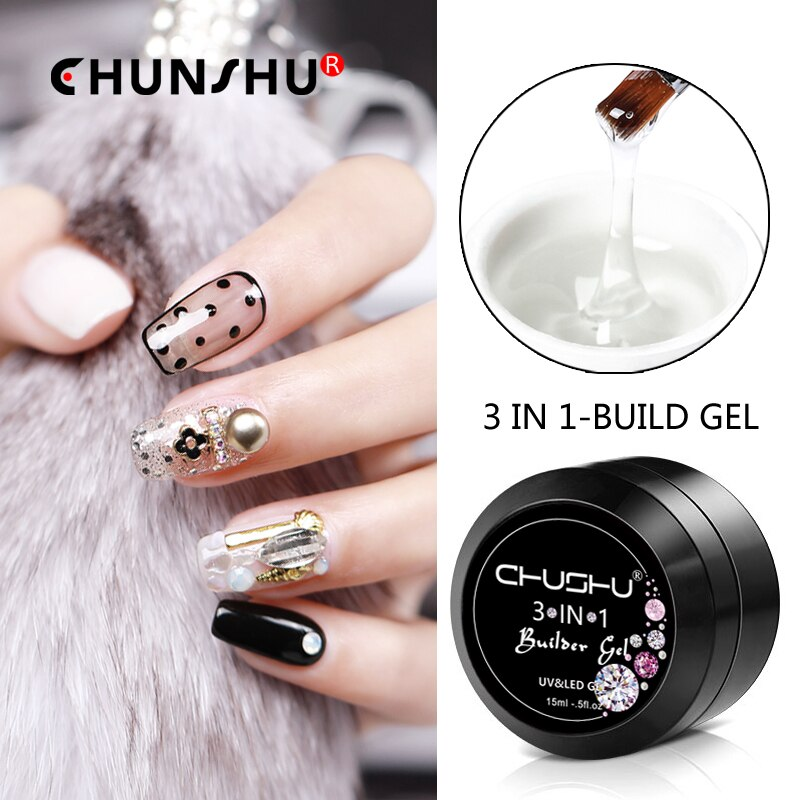 CHUNSHU 15ML Builder Gel For Nail Extension Nail Gel Polish UV Gel Nail Polish 3 IN 1 Acryl/Polygel Nail Kit 66Colors Varnish