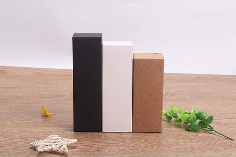 50pcs Black white Kraft Paper cardboard box Lipstick Cosmetic Perfume Bottle Kraft Paper Box Essential Oil Packaging Box