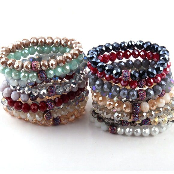 Free Shipping Energy Bracelets Made Fashion Beautiful 10mm Random Mix Color Glass Bracelet 10pc different color/lot