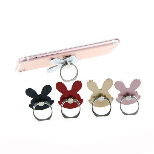 360 Degree Metal Finger Ring Mobile Phone Smartphone Stand Holder For iPhone Samsung huawei Rabbit Design Phone Holder