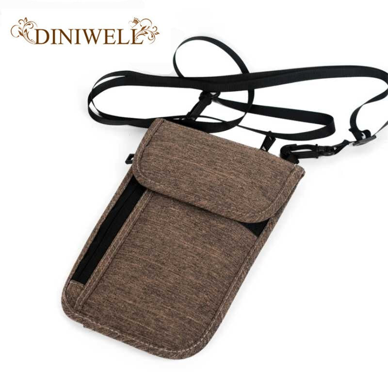 DINIWELL Hanging Neck Passport Pack Women man Travel Multifunction Document Organizer ID Credit Card Holder Protective Cover