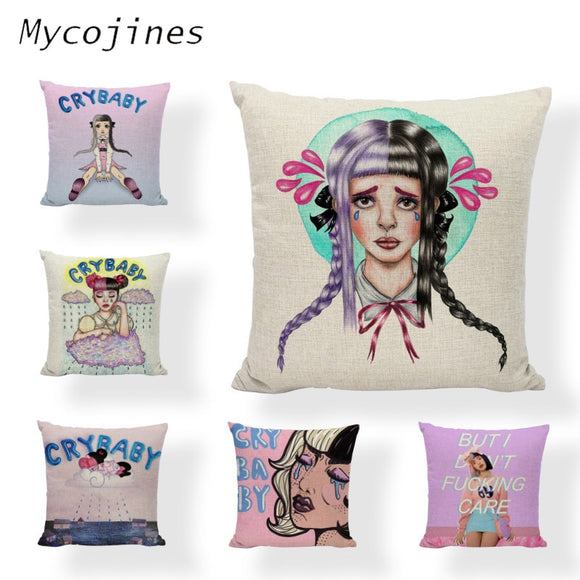Melanie Martinez Crybaby decorative Pillows Case Home 45*45cm Cushion Cover Linen Material Ladies Car Seat Bed Decor Accessories