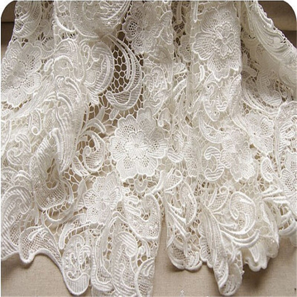 1Yard White African Lace Fabric For Woman Dress Costume Design Nigerian Lace Material  2019 New