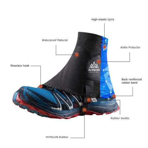 High Trail Gaiters Protective Sandproof Shoe Covers For Running Jogging Marathon