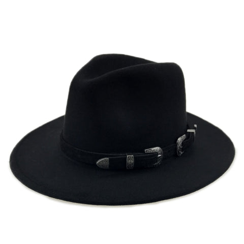 Winter Panama Hat Women Elegant Felt Caps Male Vintage Hat Wide Brim Fedora Caps with Belt Chapeau Homme Feutre Yy18016