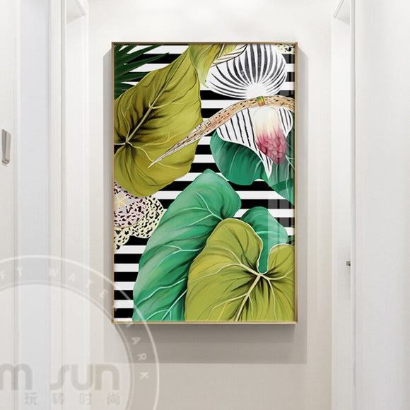 Nordic Large Green Leaf N Flower Canvas Painting Fresh Poster Print For Living Room Dining Room Background Wall Art Decoration