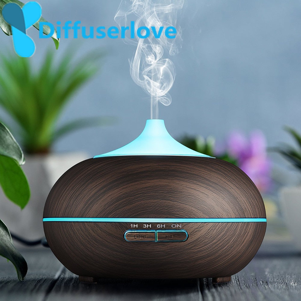 Diffuserlove Cool Mist Humidifier 300ml Wood Grain Usb Ultrasonic Aroma Essential Oil Diffuser for Office Bedroom Living Room