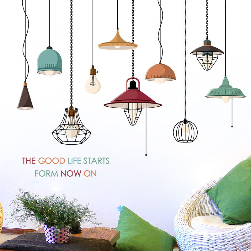 Creative Chandelier Wall Stickers for Bedroom Living room Dining room Kitchen Home Decor Drooping Lamp Vinyl Wall Decals Murals