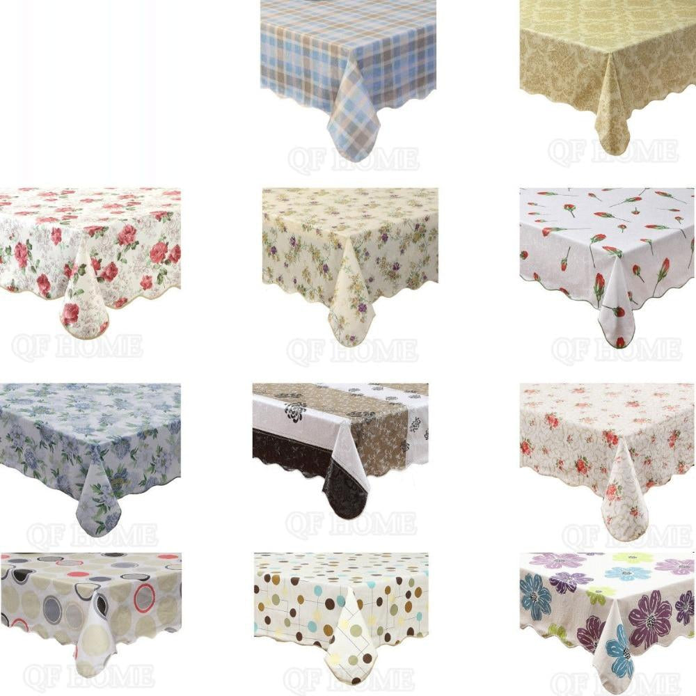 Table cloth Rectangular Waterproof & Oilproof Vinyl+Flannel Tablecloth Dining Kitchen Table Cover Protector Oilcloth