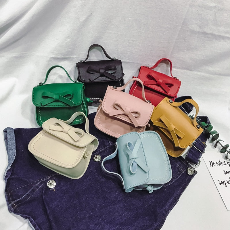 New Fashion Children's Coin Purse PU Leather Cute Mini Sweet Bow Handbag Lovely Crossbody Shoulder Bag Wallet for Girls