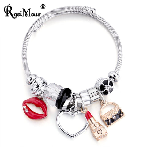 NEW ALLOY SILVER LOVELY SILVER AND RED LIPS CLIP ON CHARM FOR BRACELETS