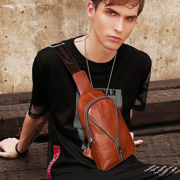 LIELANG Chest Bag Men leather Male Casual Functional Fanny Waist Bag Money Phone Belt Bag Sports Chest Bag Belt Pack Outdoor