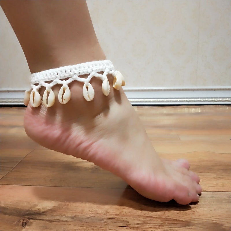 2020Crochet  Simple Seashell Ankle Crochet Pendant Anklet Bohemia Foot Jewelry Summer Beach Anklets On Foot Ankle Bracelets