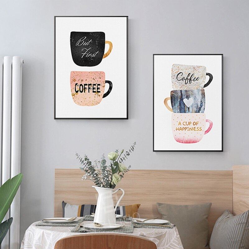 Nordic Style Decoration Paintings Coffee Cup Cream Afternoon Tea Cartoon Poster Print Wall Art For Dining Room Cafe Restaurant