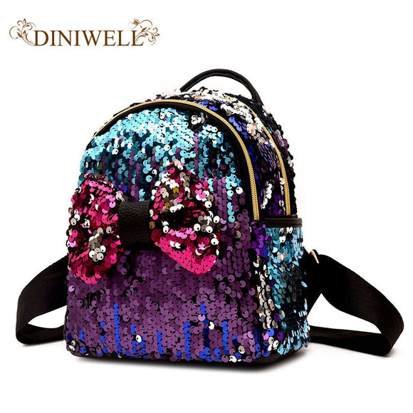 DINIWELL Women's backpack promotion new fashion sequin bow female backpack girl teen children's bag mini kawaii small backpack
