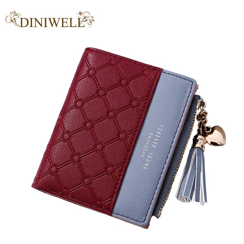 PU ladies wallet tassel zipper wallet coin card cash invoice fashion ladies small wallet short paragraph solid women's wild purs