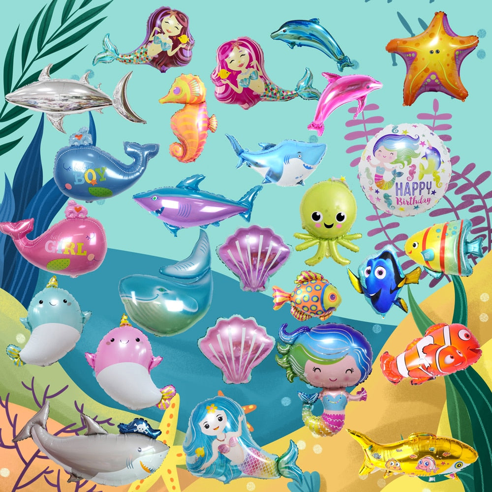 Aluminium FoilBalloon Tropical Fish Helium Balloons Party Decor Kids Toys GiftsH