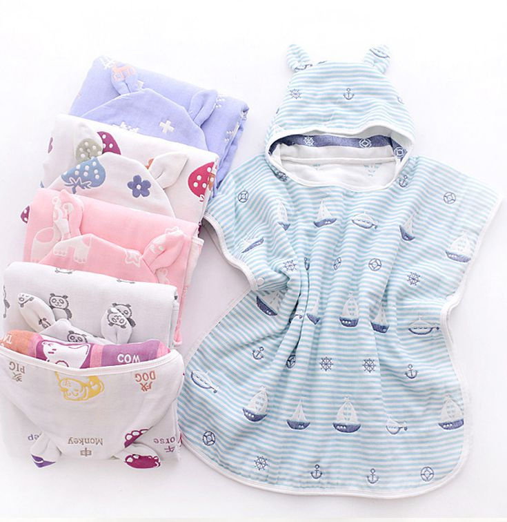 Gauze Cotton 6 Layers Baby Bath Towel With Hood Kids Ponchos Animals Pattern Infant Beach Cloak Towel