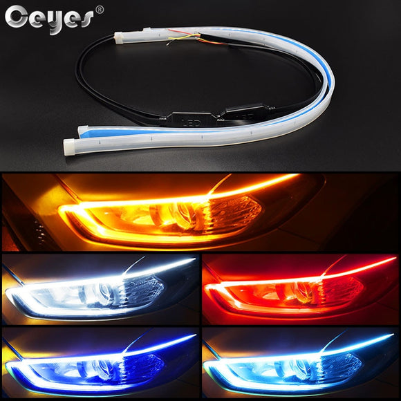 Ceyes Car Styling DRL LED Daytime Running Lights Accessories Flexible Brake Guide Strips Headlight Auto Day Time Flowing Lamps