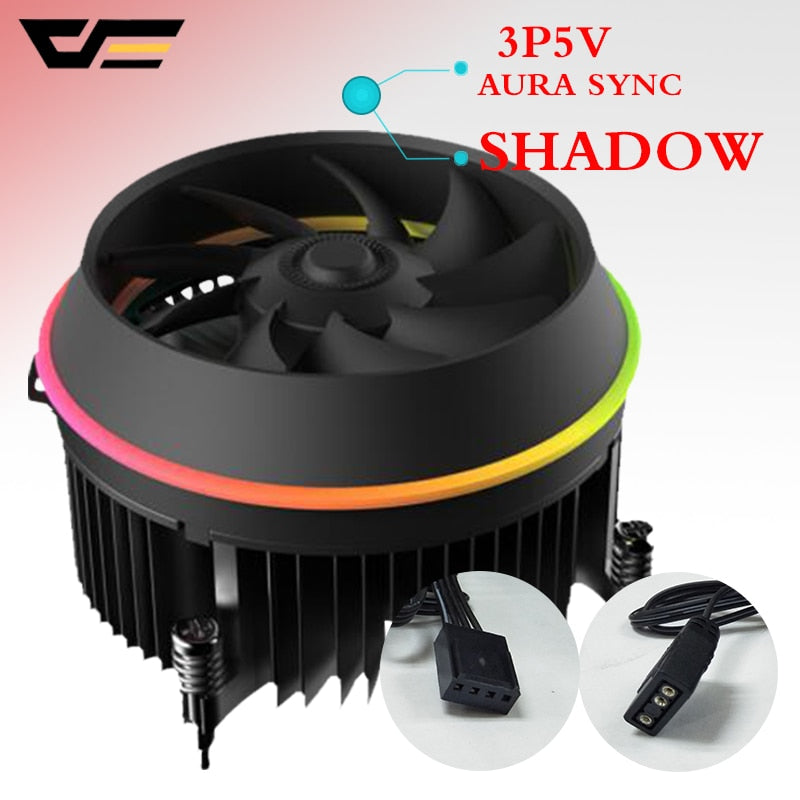 darkflash shadow TOP-FLOW CPU Cooler 3P-5vAURA SYNC TDP 280W PWM 4pin Double Ring LED RGB Fan Radiator Cooler for intel LGA 115x