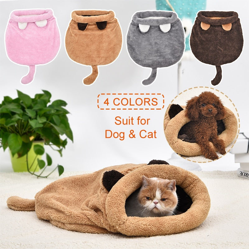 Cat Dog Bed Four Colors Sleeping Bag Warm Comfortable Puppy Winter Nest Cushion Mat Shape Cute Suitable For Small Medium Pet