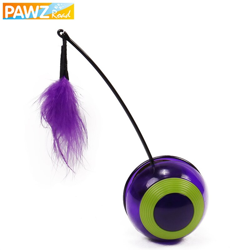 Cat Toy Feather Electric Rotating Tumbler Sound Ball Toy For Cat Dog Colorful Pet IQ Training Scratching Teaser Feather Wand Toy