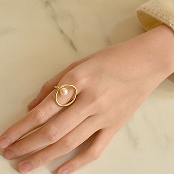 Chic Stylish Gold Tone Circle Faux Pearl Finger Ring For Women 2019 Brief Cool Geometry Index Ring Femme Bijoux