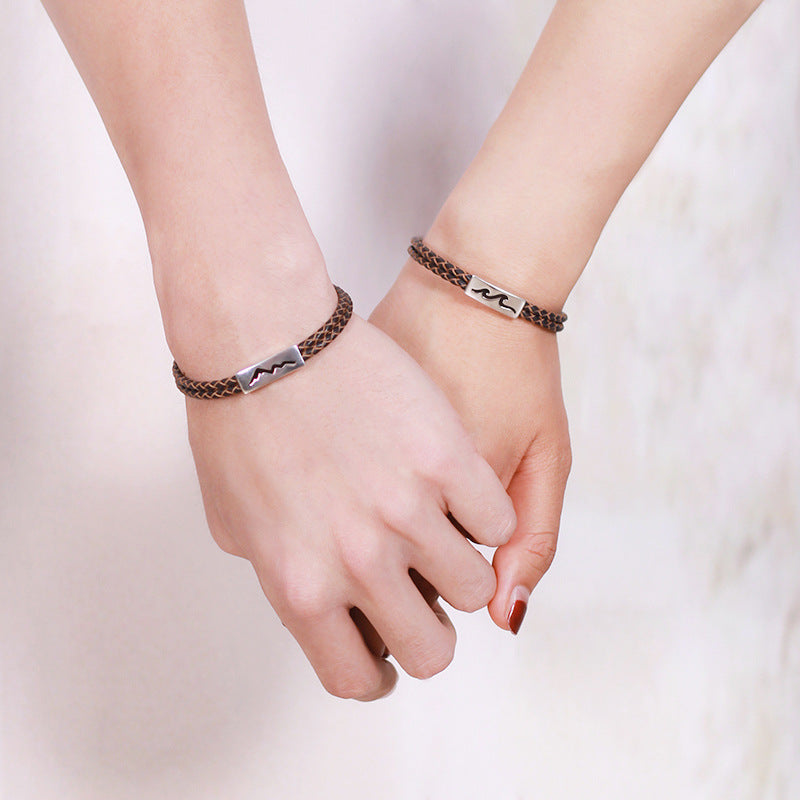 Silvology 925 Sterling Leather Rope Bracelets Sea Oath Mountain Promise Couple Bracelets For Lovers 2019 Summer Jewelry Gift