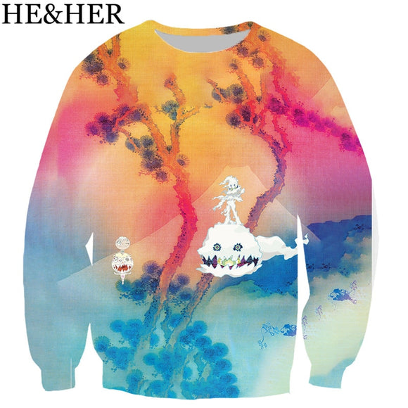 Kanye West Kids see ghost  men women 3D color printed sweatshirts unisex hip hop style streetwear casual sweatshirt hooded top