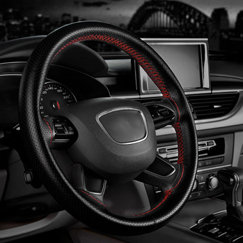 Auto Car Steering Wheel Cover With Needles And Thread Leather Car Covers UP