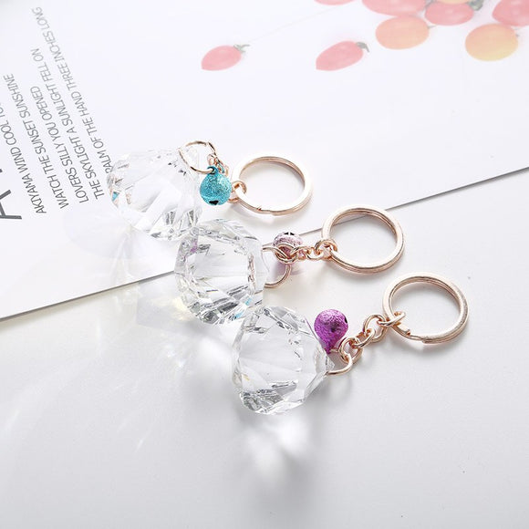 New Creative Geometric Shape Wild With Bells Key Chain Ring Clips Gift Chain Bag Pendant Jewelry Accessories Car Pendant