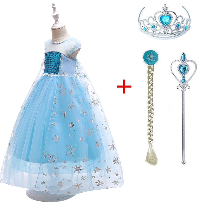 2019 New Queen Elsa Dresses Elza Costumes Princess Anna Dress for Girls Party Vestidos Fantasia Kids Girls Clothing Ana Set