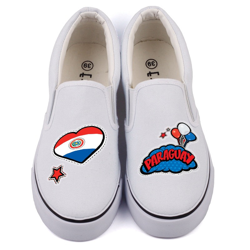 Canvas High Top Sneaker Casual Skate Shoe Boys Girls Paraguay Flag